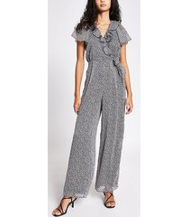 river island womens black floral frill wrap front jumpsuit