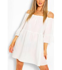 cold shoulder flared sleeve smock dress, white