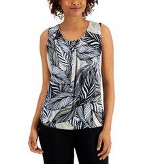 kasper leaf-print pleat-neck top