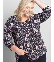 lane bryant women's 3/4-sleeve pleat-front top 14/16 lisbett floral