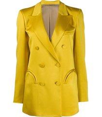 blazé milano double-breasted longline blazer - yellow
