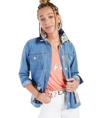style & co petite printed-patch denim jacket, created for macy's
