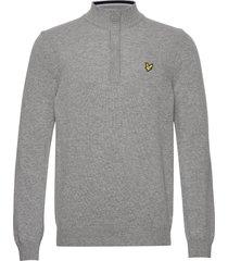 1/4 zip tipped funnel neck knitwear half zip jumpers grå lyle & scott