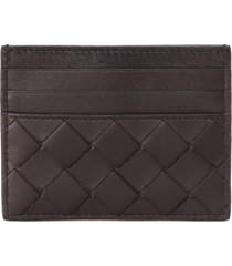 bottega veneta black braided leather cardholder