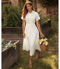vestido camisero manga corta unicolor-10