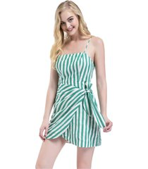 vestido cruzado nudo y rayas verde nicopoly