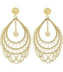 orecchini pendenti goccia in ottone dorato e glitter per donna