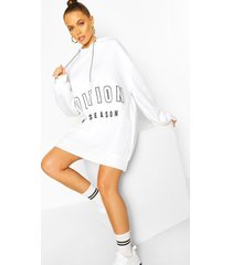 contrast tape slogan oversized sweatshirt dress, white