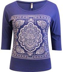 blusa pau a pique 3/4 silk azul bic