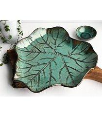 patera ceramiczna liść dekoracyjny talerz