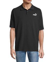 puma men's essential cotton-blend polo - black - size xxl