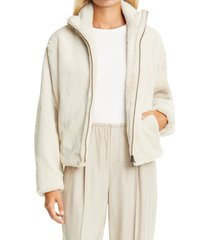 women's vince zip front plush faux fur jacket, size medium - ivory