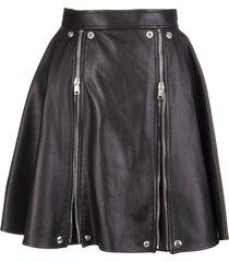 alexander mcqueen black leather short godet skirt with zip
