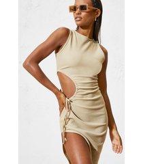 geribbelde premium asymmetrische midaxi jurk met uitsnijding, sand