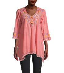 johnny was women's rosetta cotton tunic top - passion fruit - size s