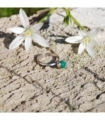 pierścionek konwalia z agatem zielonym