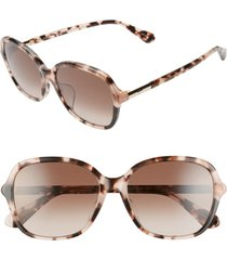 women's kate spade new york bryleefs 56mm round sunglasses - pink havana