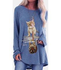 camicetta casual a maniche lunghe con stampa tigre di cartone animato per donna
