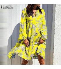 zanzea manga larga floral con cuello en v para mujer mini vestido holgado casual vestidos de cóctel -amarillo