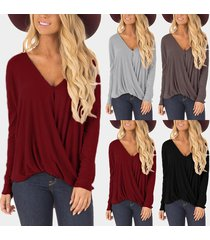 zanzea suéter casual camiseta superior-marrón