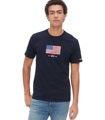 camiseta azul oscuro-blanco-rojo gap