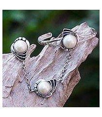 cultured pearl flower harem bracelet with ring, 'maritime dancer' (indonesia)