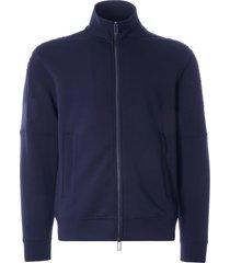 emporio armani full-zip double jersey sweatshirt with logo sleeve embroidery | blu navy | 3k1mf4-1jhsz