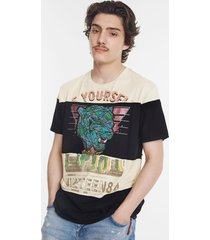 patch tiger and messages t-shirt - black - xxl