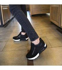 zapatillas casuales de cuña con plataforma lifeenjoy lay7182173 para mujer-negro