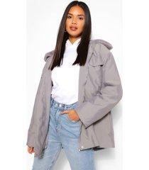 lichte parka jas met faux fur kraag, houtskool