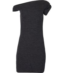 asymmetric off-shoulder mini dress light grey mélange