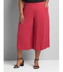lane bryant women's knit kit pull-on wide leg capri 38/40 sangria