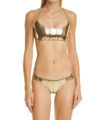 women's lisa marie fernandez corset two-piece swimsuit, size 3 - metallic
