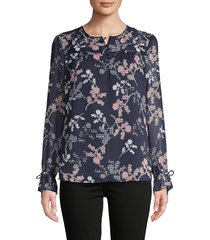 tommy hilfiger women's floral & gingham-print self-tie top - black blue - size m