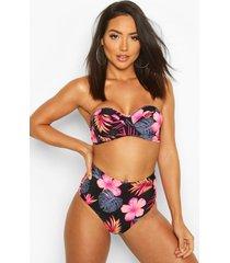 bikini met beugel-beha, hoge taille en tropische bloemen, zwart