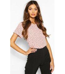 blouse met stippen en korte mouwen, blush