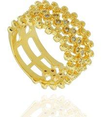 anel dona diva semi joias largo bolinhas dourado