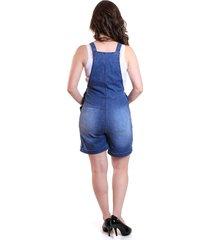 macacã£o gestante & cia barriga curto jeans - azul - feminino - dafiti