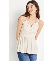 maurices womens lace top babydoll tank top beige