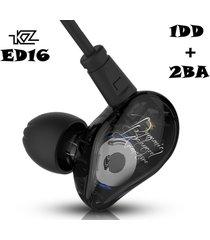 audífonos kz ed16 monitores in ear alta fidelidad 3x2 drivers sin micrófono - negro