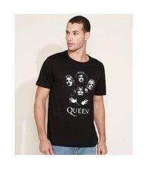 camiseta masculina queen manga curta gola careca preta