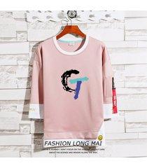 suéter de dos piezas falso con cuello redondo para hombre camiseta estilo manga de siete puntos estilo hong kong