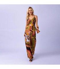 macacão mercatto longo estampado burle feminino - feminino