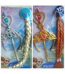 elsa anna tiara wigs princess crown wand gloves christmas cosplay set