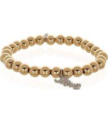micro pave diamond love bead bracelet