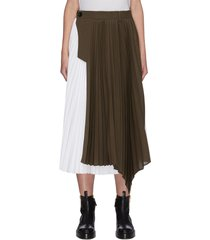 contrast panel asymmetric hem pleated midi skirt