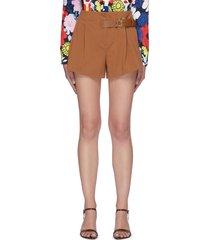'adeline' side belt detail pleated shorts