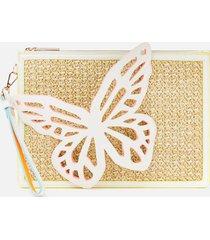 sophia webster women's flossy butterfly pouchette bag - white/neutral