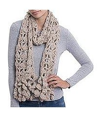 alpaca blend scarf, 'oyster temptation' (peru)