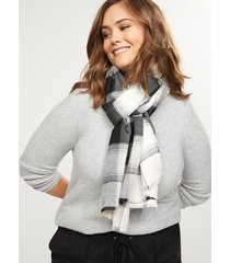 lane bryant women's black & white plaid scarf onesz black